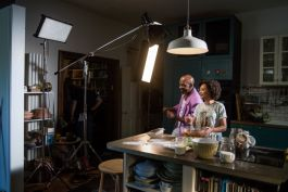 kino flo and dedolight led lights lighting tv commercial set, in kitchen, cooking