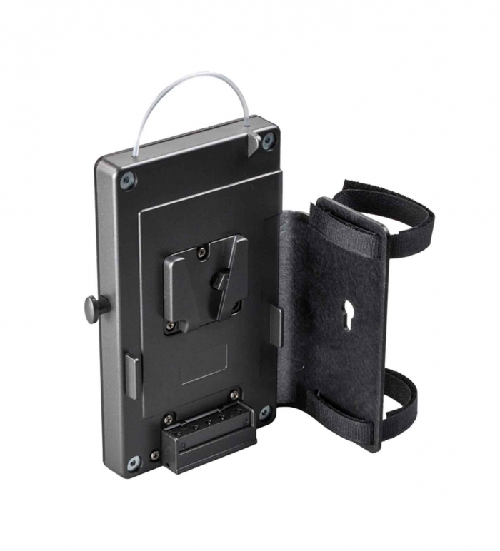 Belt adapter for V-Mount batteries with holding plate for DT4.x-BAT/-BI-BAT power supplies. D-TAP power out socket