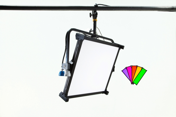 Kino Flo Celeb 450Q DMX LED soft lighting fixture, Kelvin tuneable with colour gel presets, pole operation