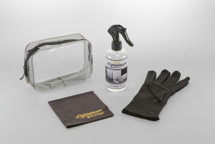 Cleaning kit for Lightstream reflectors. Liquid, gloves, tissue and transport pouch. Dedolight CRLS