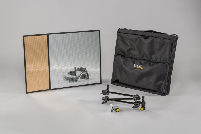 Large EFLECT kit in soft case with multi-mirror #1 in silver and gold Dedolight crls led lighting