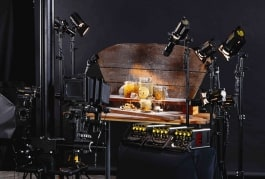 still life table top photography set with dedolight classic dlh4 lights and imaging projectors