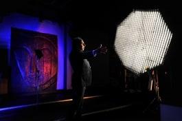 dedolight panaura octodome light lighting singer on stage